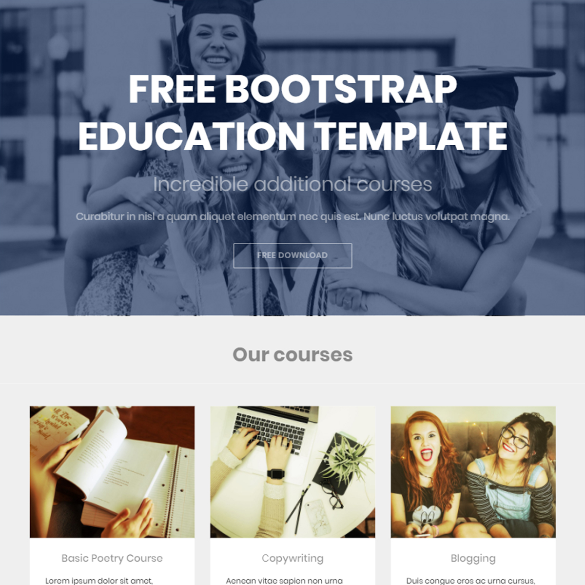 Free Download Bootstrap Education Templates