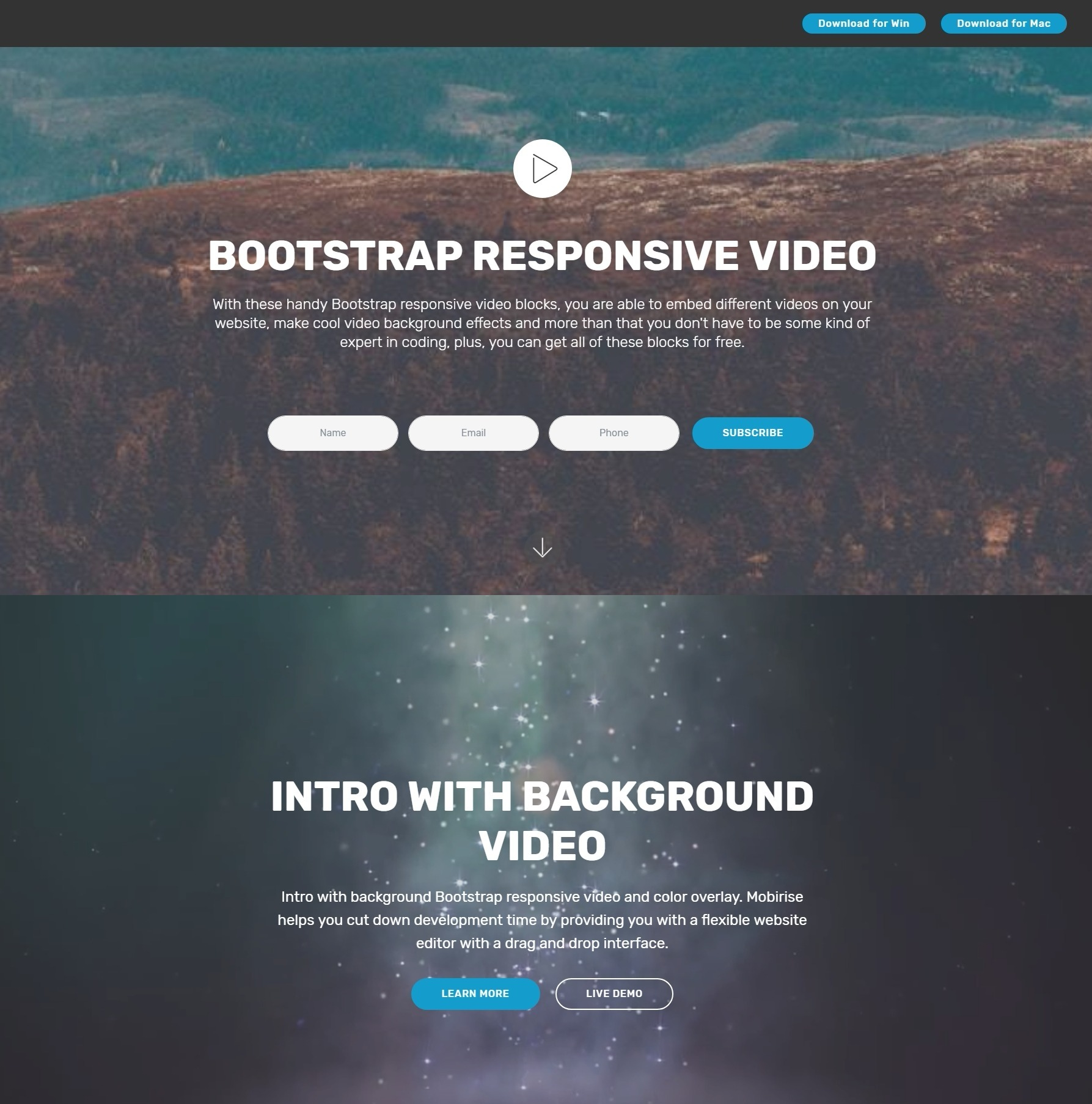 Great jQuery Bootstrap Responsive Video Players and Responsive Menu