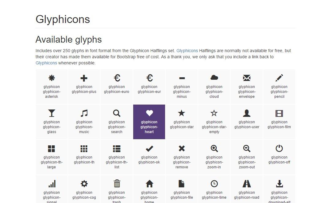bootstrap glyphicons set