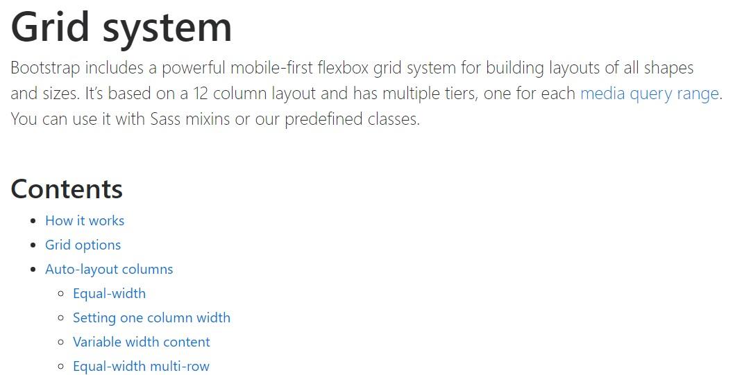 Bootstrap grid  authoritative  documents