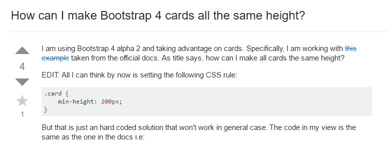 Insights on how can we  create Bootstrap 4 cards  all the same  height?