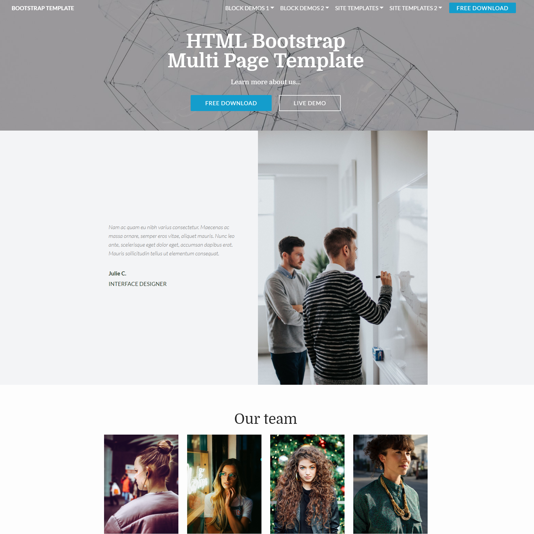 HTML5 Bootstrap Multi page Templates