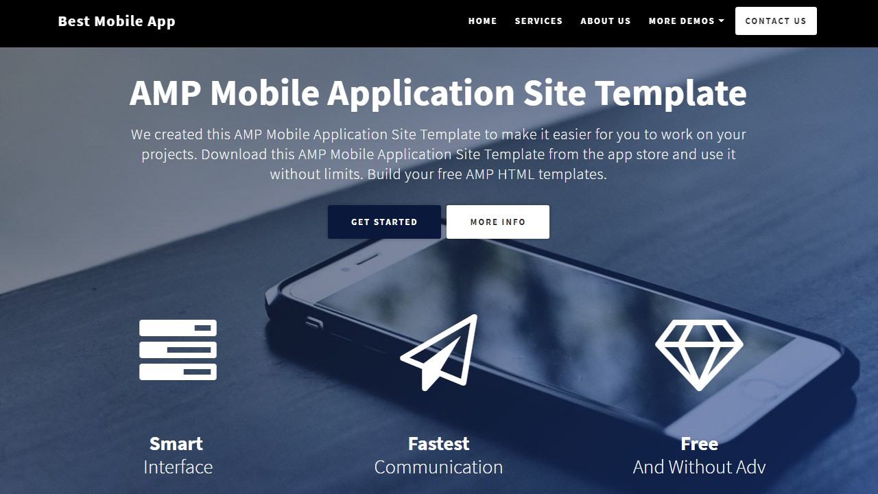 AMP HTML Mobile App Template